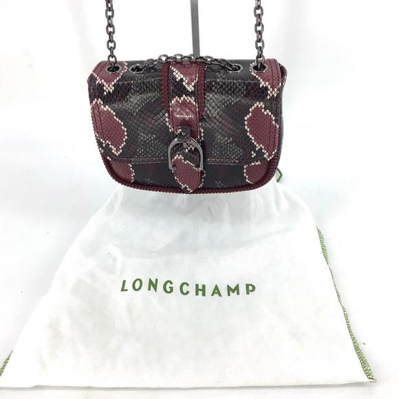 NEW Longchamp Amazone Python Embossed Crossbody